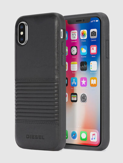 Diesel - BLACK LINED LEATHER IPHONE X CASE,  - Cases - Image 1