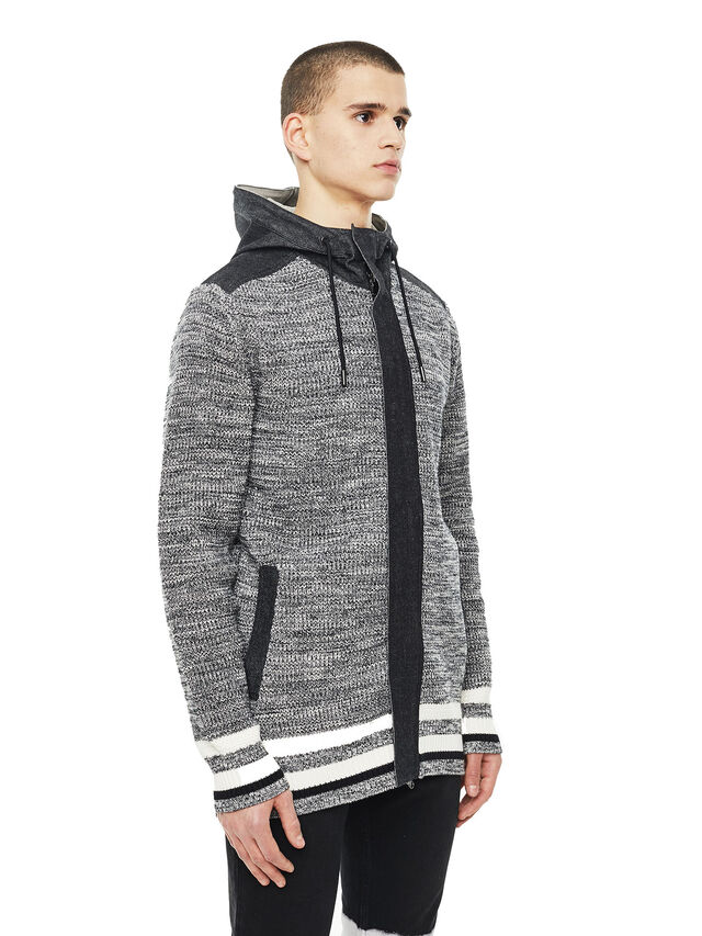 Diesel - KOMO-HOOD, Black/Grey - Knitwear - Image 6