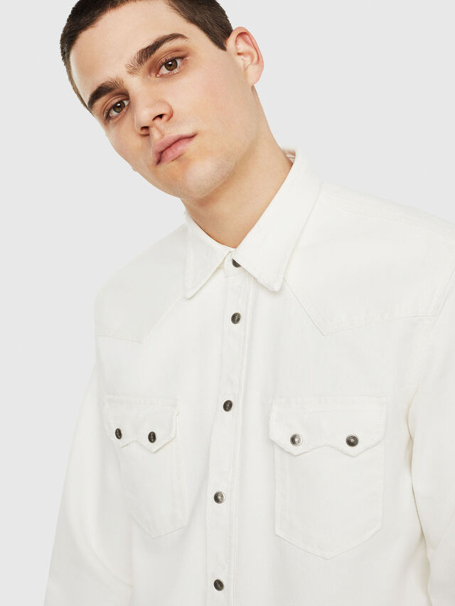 Diesel - D-LEO, White - Denim Shirts - Image 3