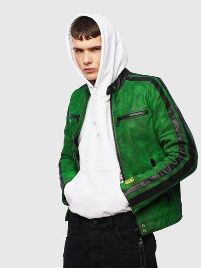 Diesel - L-BOY-A, Green - Leather jackets - Image 4