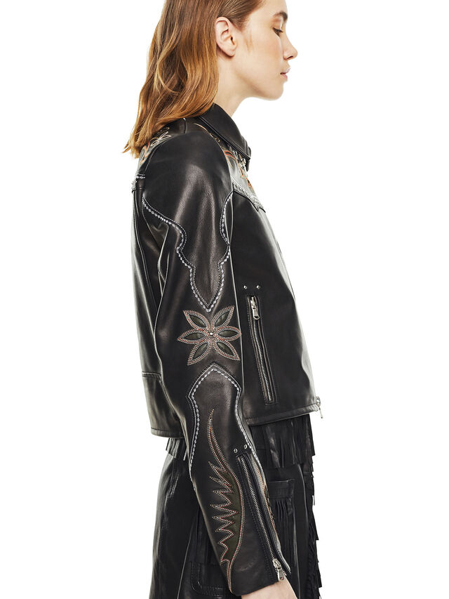 Diesel - LEXIA, Black Leather - Leather jackets - Image 4