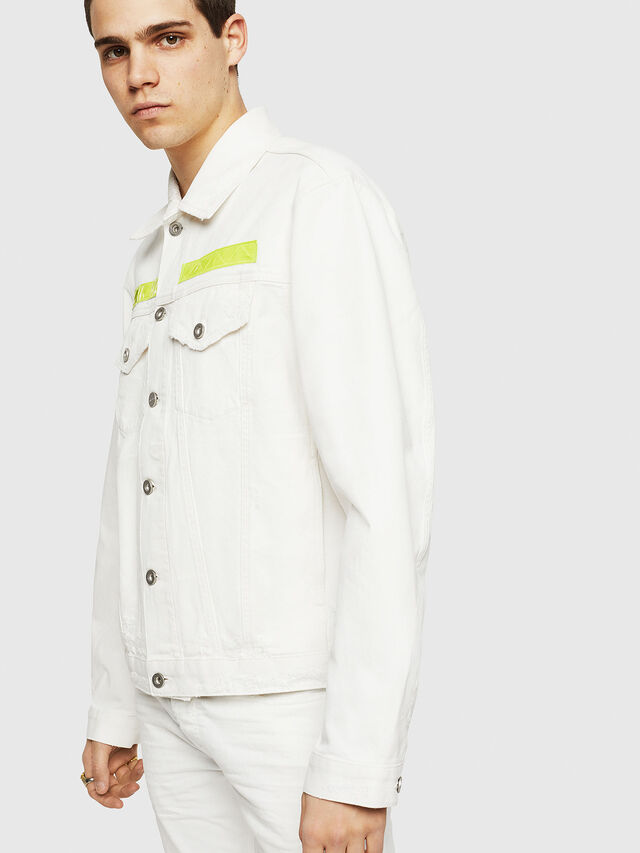Diesel - D-HILL, White/Yellow - Denim Jackets - Image 4