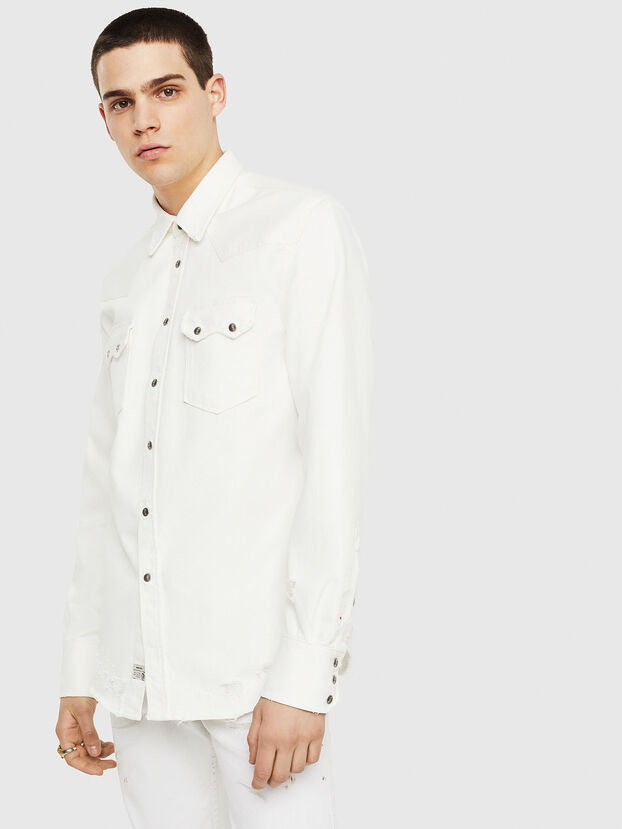 D-LEO, White - Denim Shirts