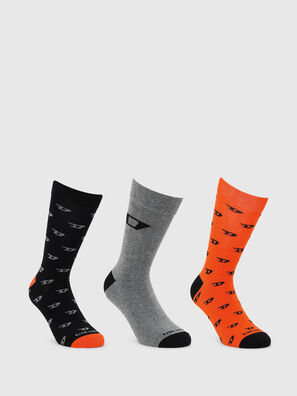 SKM-RAY-THREEPACK, Black/Orange - Socks