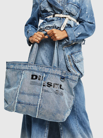 Diesel - D-THISBAG SHOPPER L, Light Blue - Shopping and Shoulder Bags - Image 7
