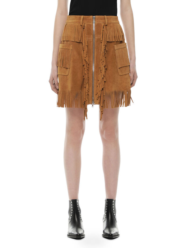 Diesel - OSCAP, Brown/Beige - Leather skirts - Image 1