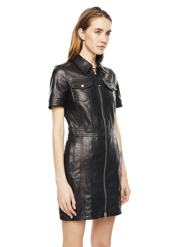 Diesel - DAFFIE, Black Leather - Leather dresses - Image 5