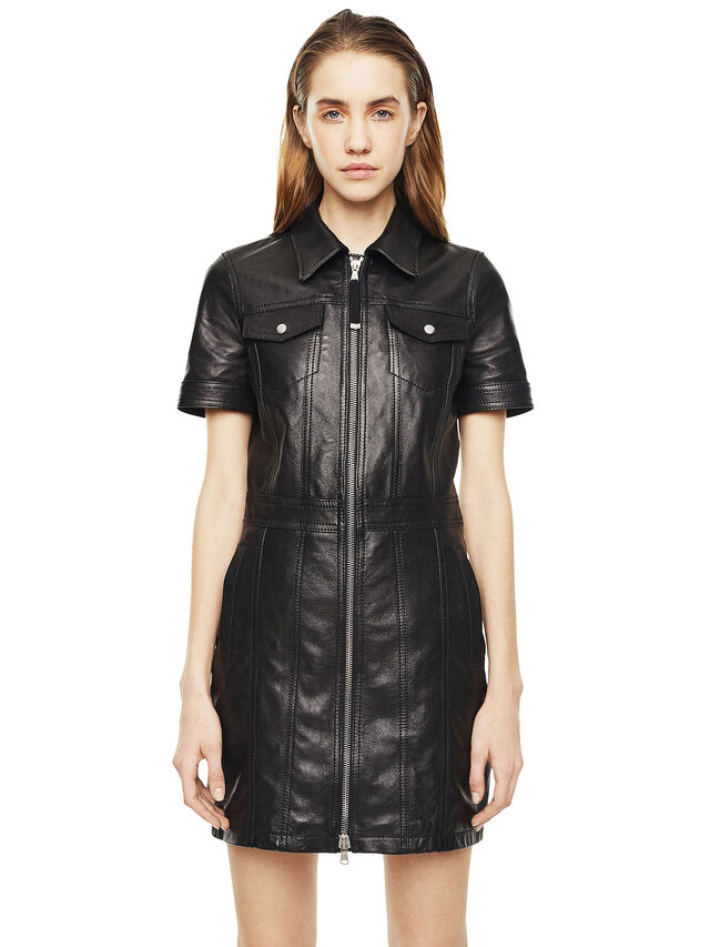 Diesel - DAFFIE, Black Leather - Leather dresses - Image 1