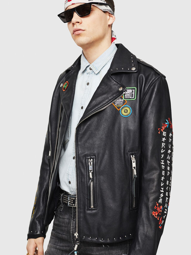 Diesel - L-JUNER, Black - Leather jackets - Image 1