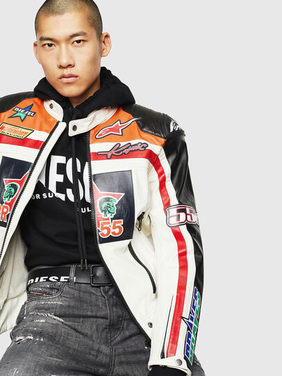 Diesel - ASTARS-LPATCH-1A, White - Leather jackets - Image 4