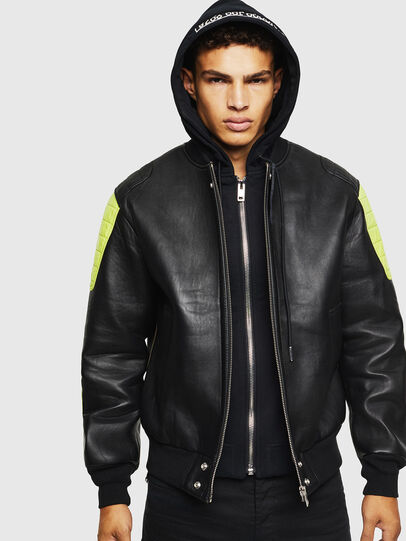 Diesel - L-BRANDO, Black - Leather jackets - Image 1