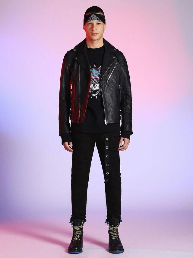 Diesel - LU-L-KRAMPS, Black - Leather jackets - Image 4