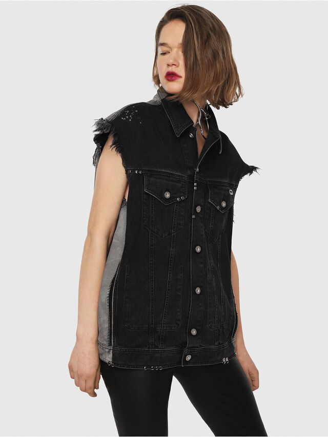 Diesel - D-VINNY-B, Black/Dark grey - Denim Jackets - Image 2