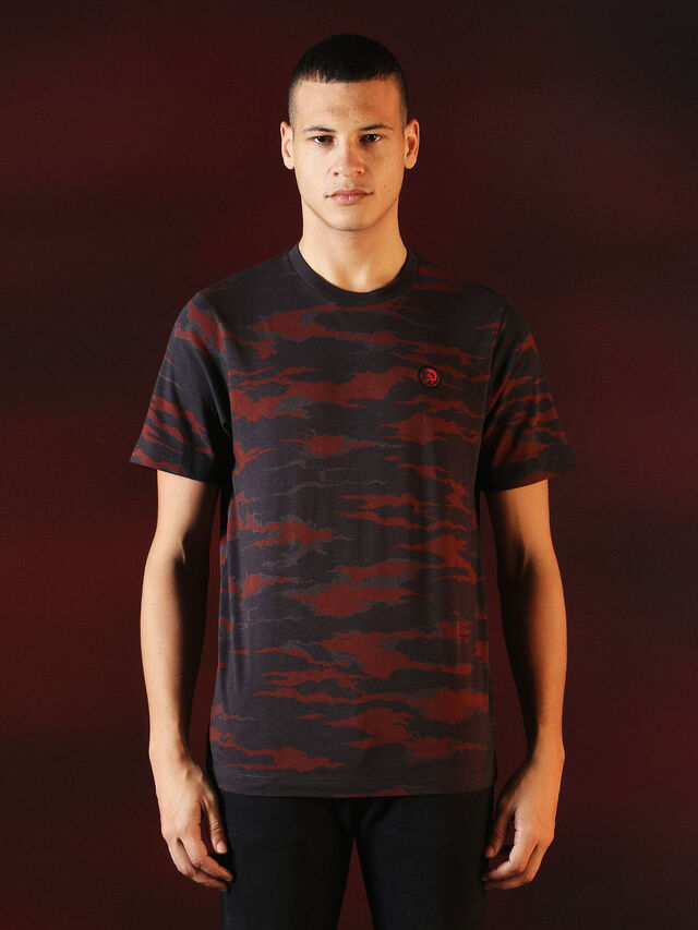 Diesel - DVL-TSHIRT-CAMU-SPECIAL COLLECTION, Red/Black - T-Shirts - Image 1
