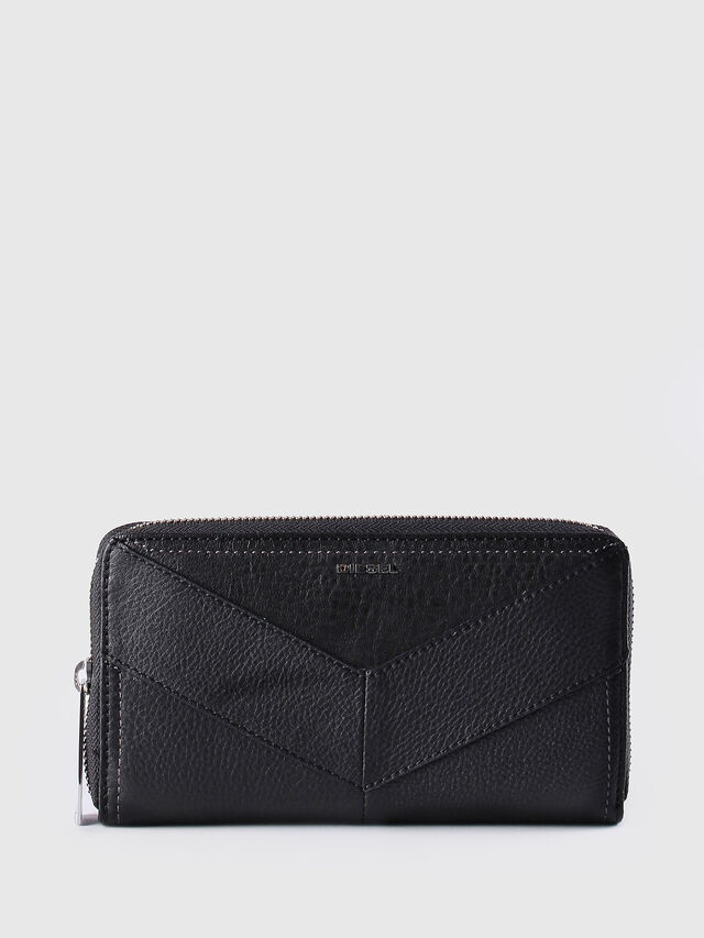 Diesel - GRANATO, Black Leather - Zip-Round Wallets - Image 1