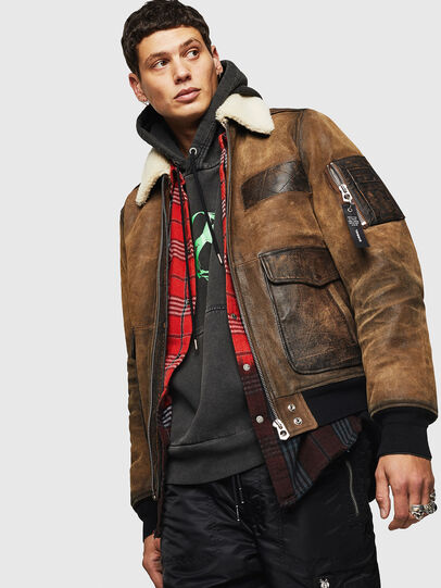Diesel - L-OIUKIRO, Brown - Leather jackets - Image 4