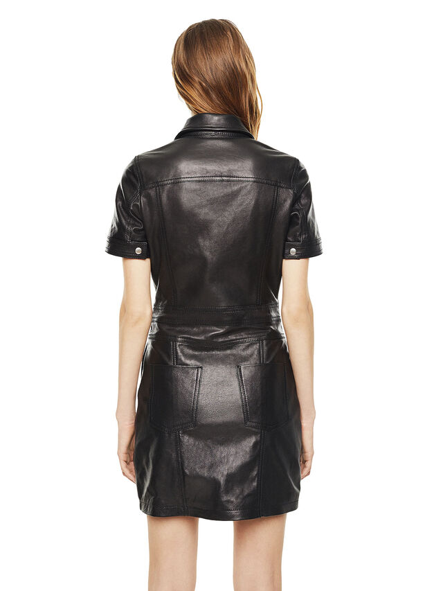 Diesel - DAFFIE, Black Leather - Leather dresses - Image 2