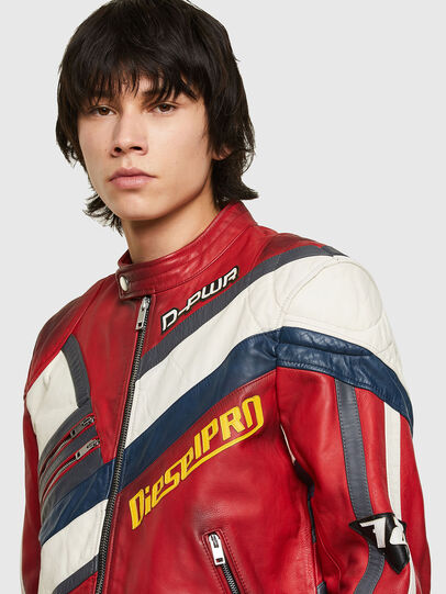 Diesel - L-POWER, White/Red - Leather jackets - Image 3