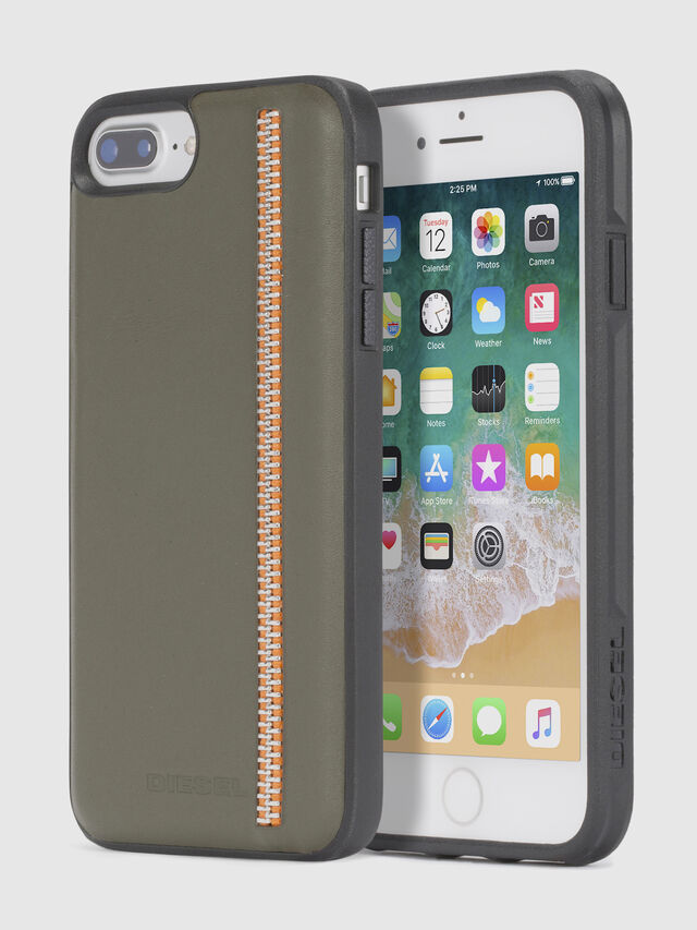 Diesel - ZIP OLIVE LEATHER IPHONE 8/7/6s/6 CASE, Olive Green - Cases - Image 1