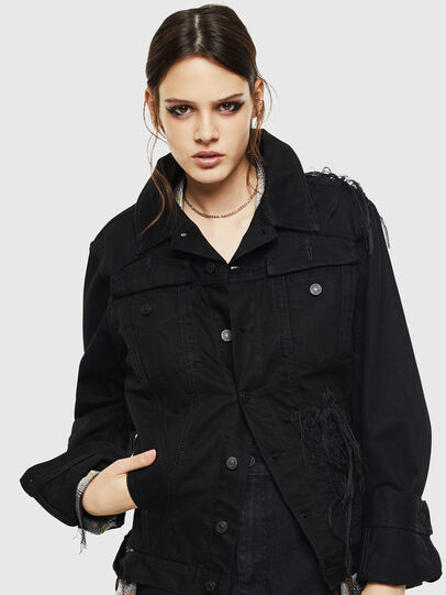 Diesel - DE-NALINI, Black/Dark grey - Denim Jackets - Image 1