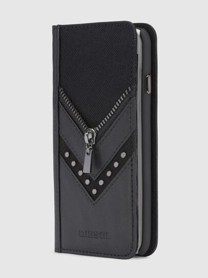 Diesel - BLACK DENIM/STUD/ZIPPER IPHONE X FOLIO,  - Flip covers - Image 4
