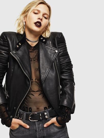 Diesel - L-IGE, Black - Leather jackets - Image 4