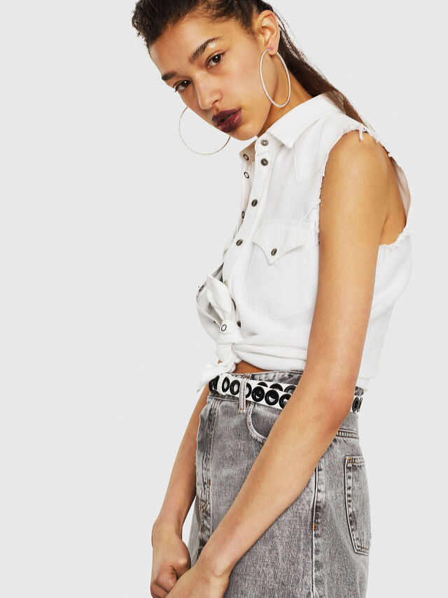 Diesel - DE-LOLLY, White - Denim Shirts - Image 4