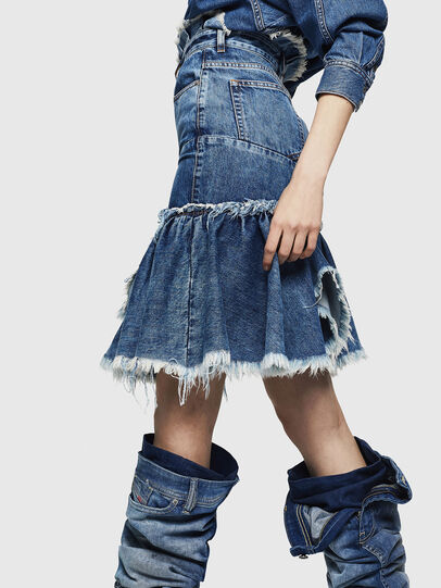 Diesel - DE-ALAYNA, Medium blue - Skirts - Image 8