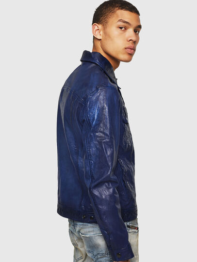 Diesel - L-NHILL, Blue - Leather jackets - Image 4