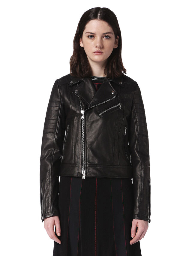 Diesel - LINEW, Black - Leather jackets - Image 1