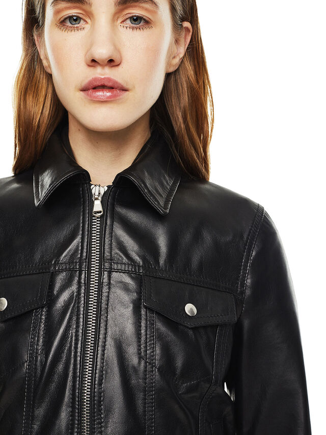 Diesel - LUCYLLE, Black Leather - Leather jackets - Image 4